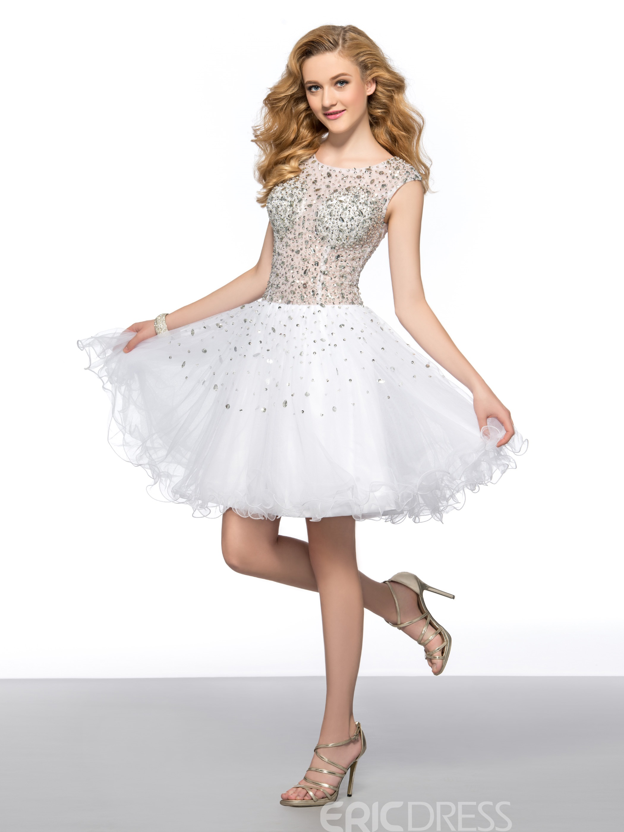 Stunning A-line Scoop Beadings Zipper-up Short Homecoming Dress
