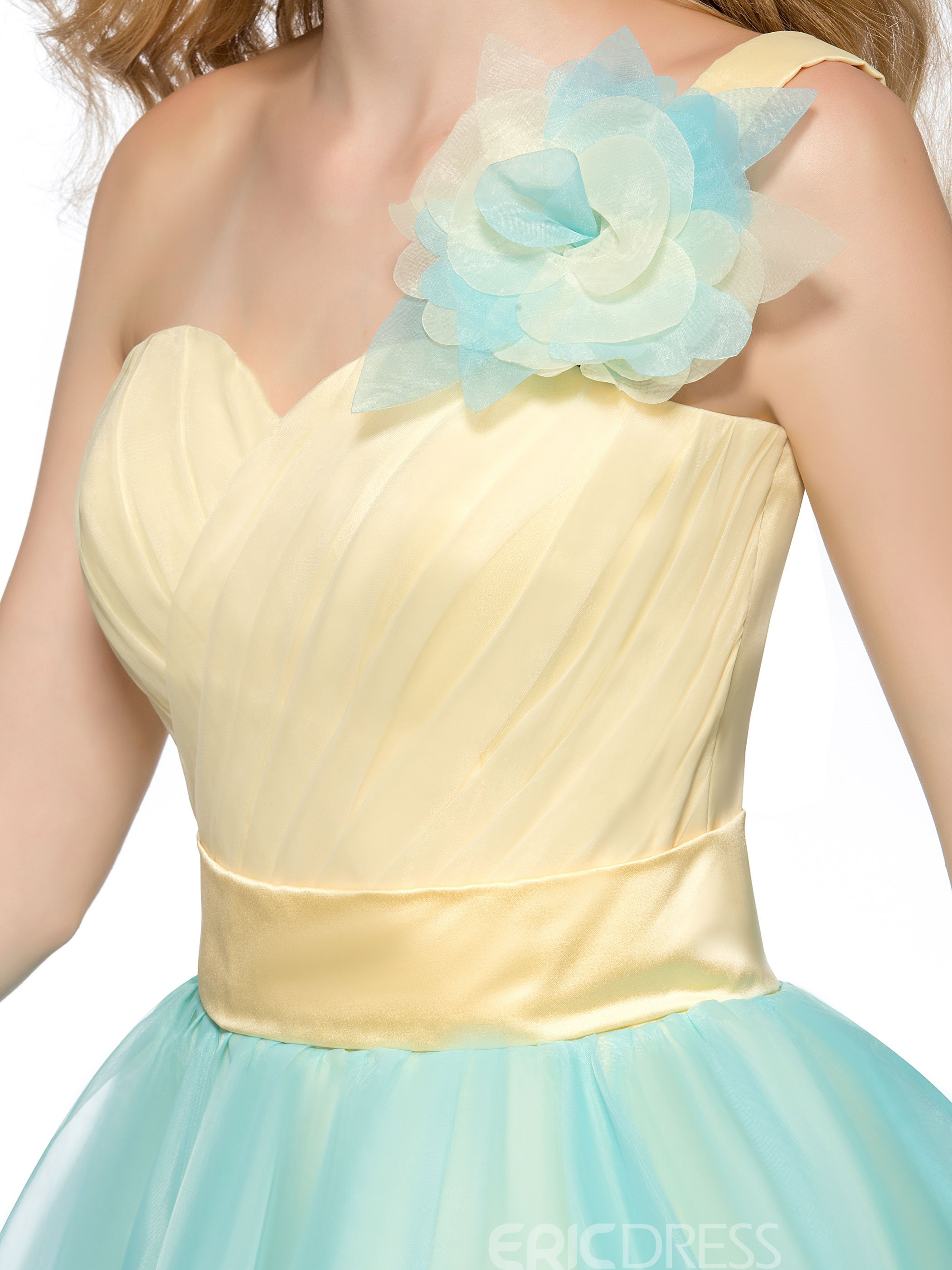 Charming A-Line One Shoulder Flower Short Homecoming Dress