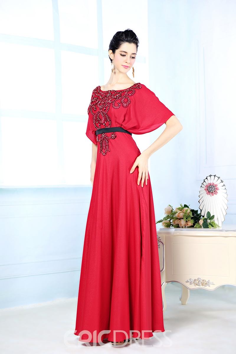 Beaded Scoop Neck Short Sleeves A-Line Evening Dress