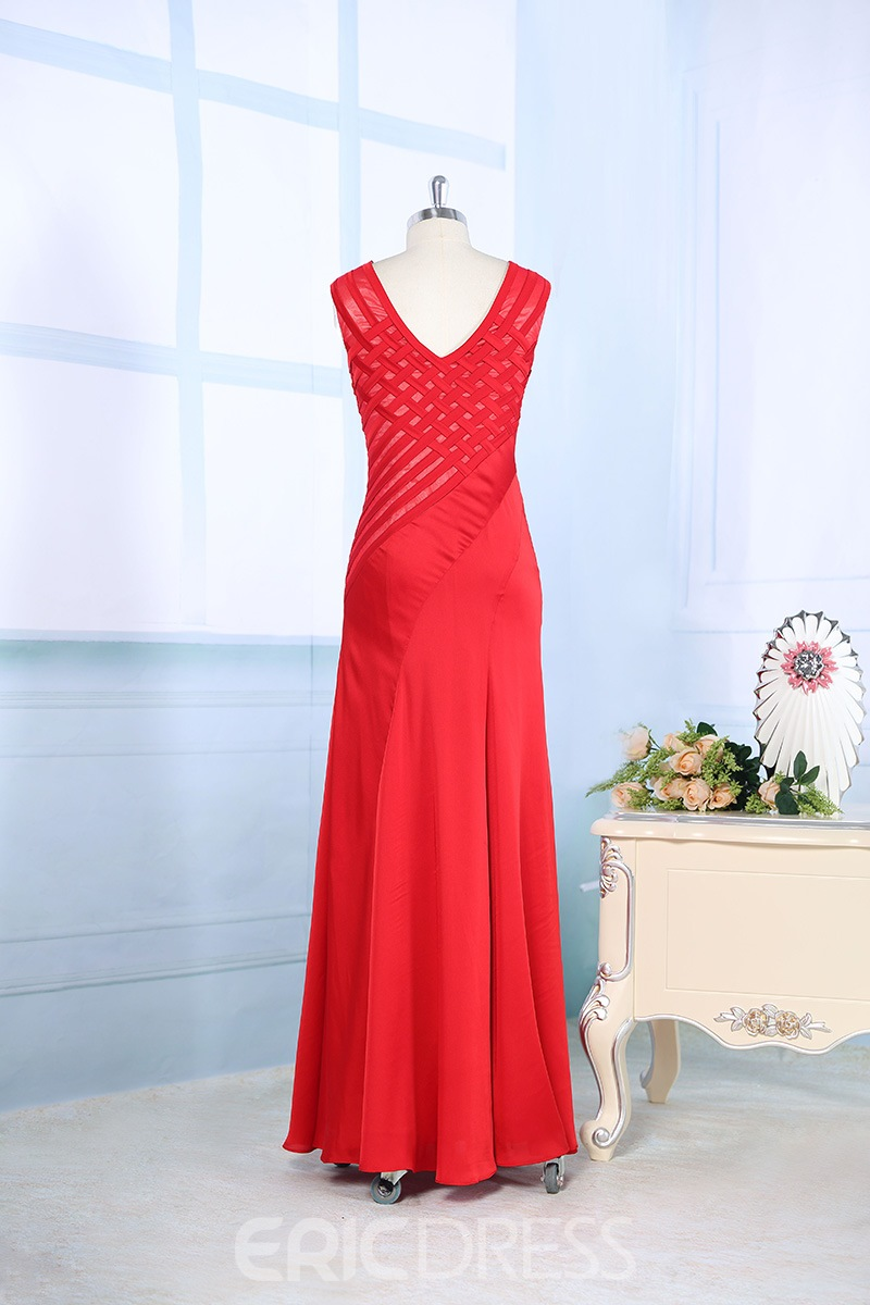 Timeless V-Neck Sheath/Column Floor-Length Evening Dress