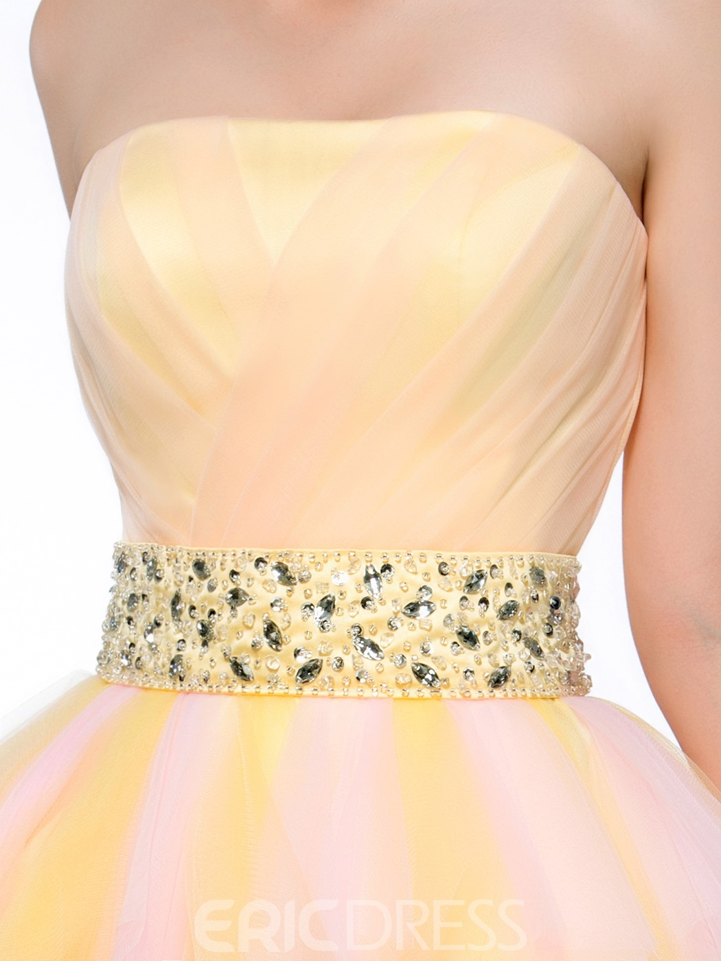 Sweet Sashes Beaded Knee-Length Strapless Zipper-Up Homecoming Dress