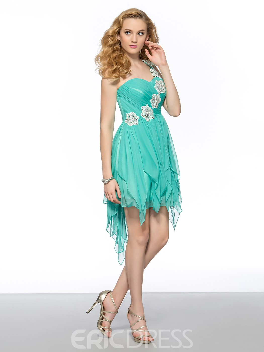 Sweet One-shoulder Asymmetrical Flowers Short Homecoming Dress