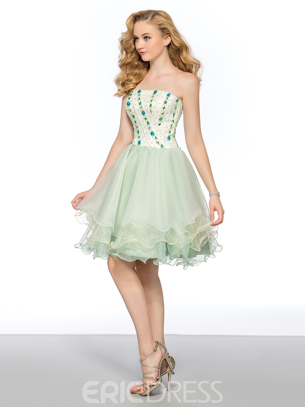 Charming A-Line Strapless Rhinestone Short Homecoming Dress
