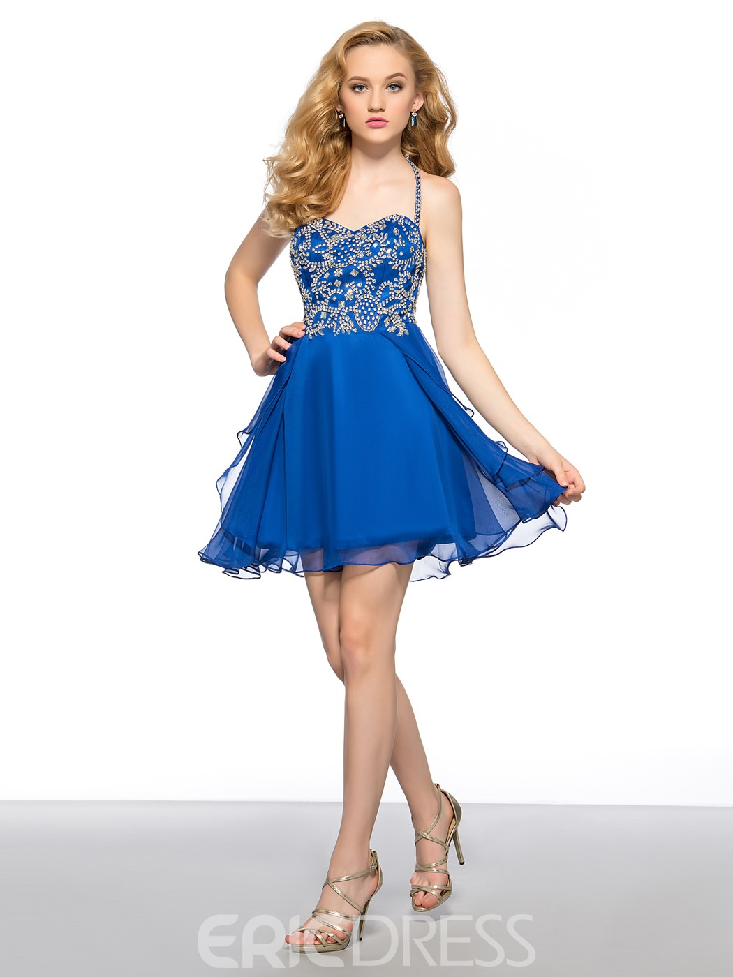 Delicate A-Line Beading Center Back Zipper Short Homecoming Dress