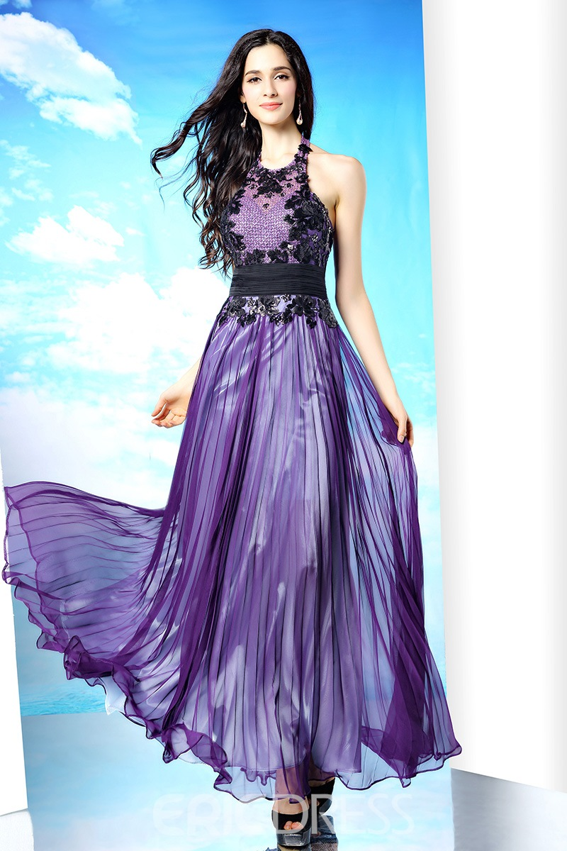 Glamorous Halter Floor Length A-Line Chiffon Evening Dress
