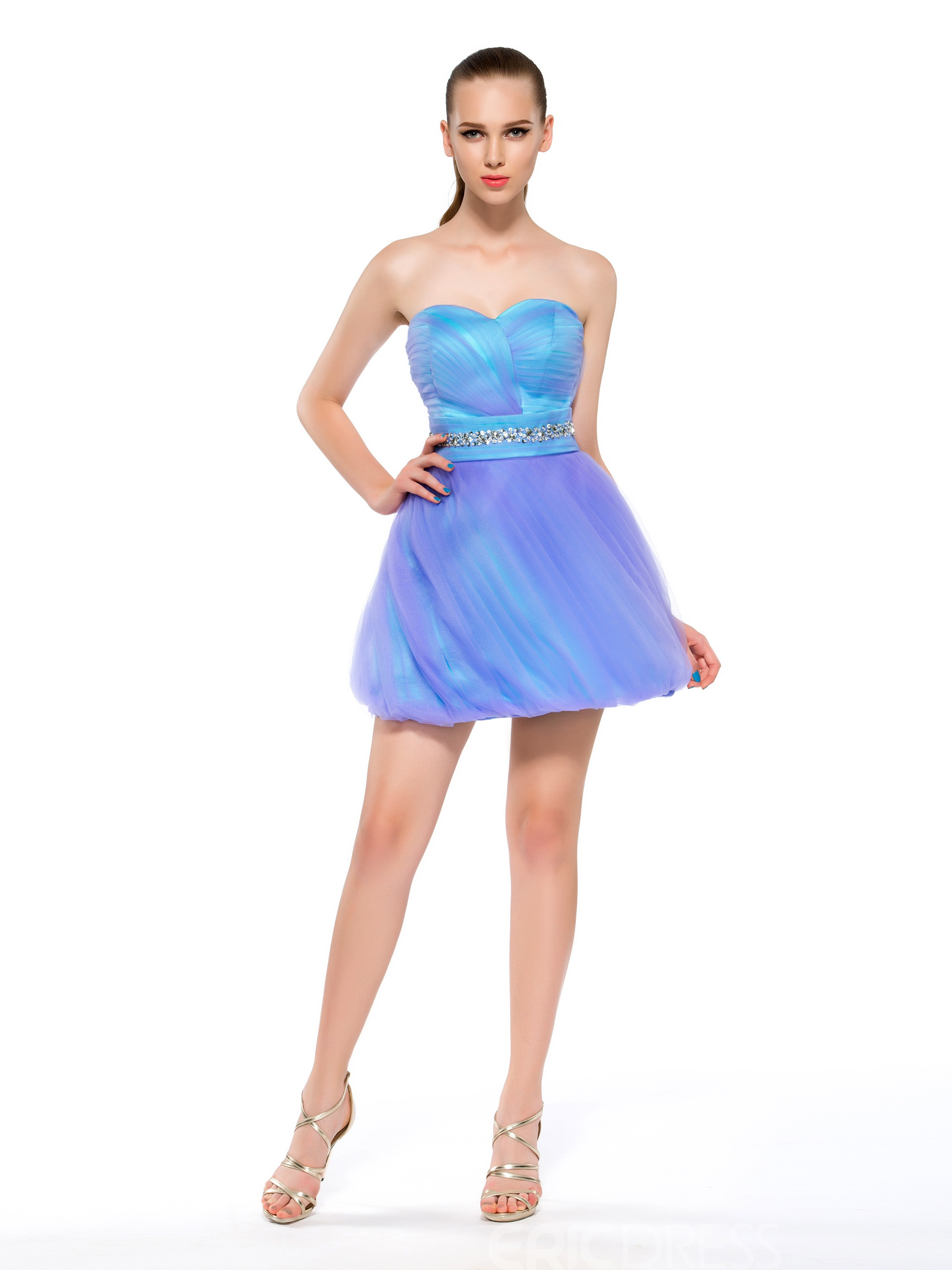 Concise Cute Sweetheart Neckline A-Line Beading Homecoming Dress