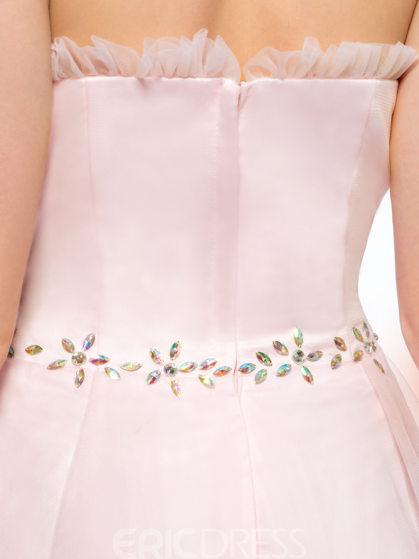 Charming A-Line Strapless Beading Short Homecoming Dress