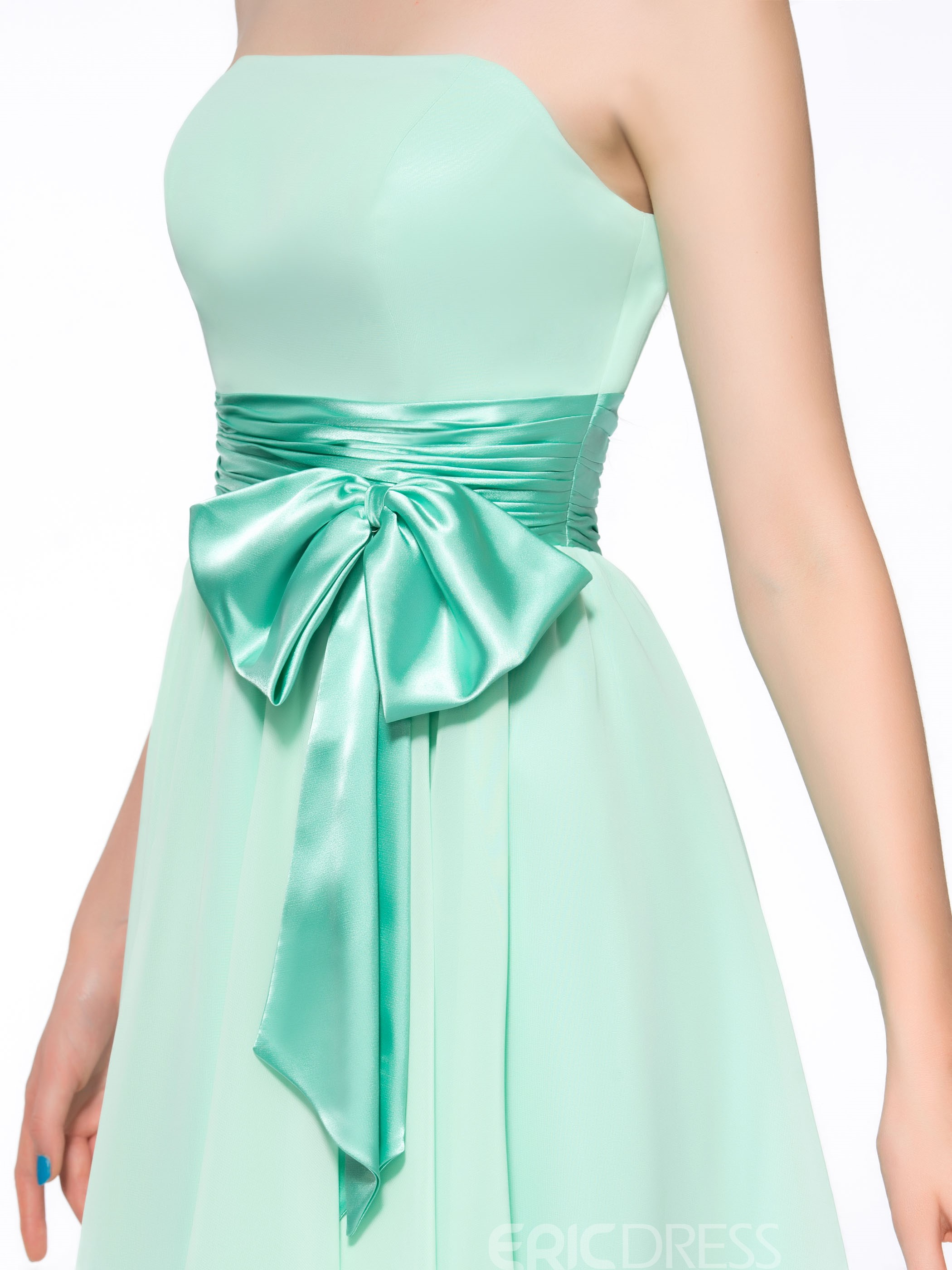 Sweet Sashes Bowknot Knee-Length Strapless Zipper-Up Chiffon Homecoming Dress