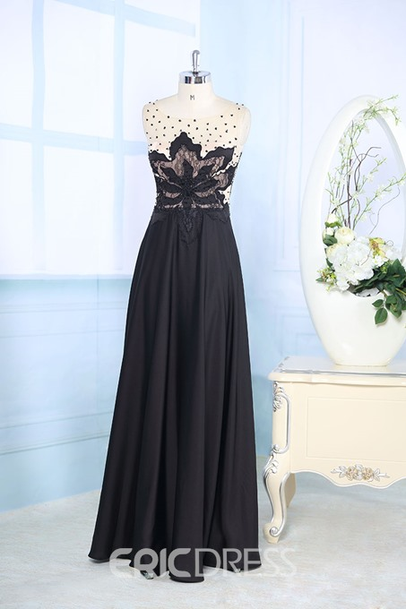 Timeless Bateau Neck Beading Floor-Length Evening Dress