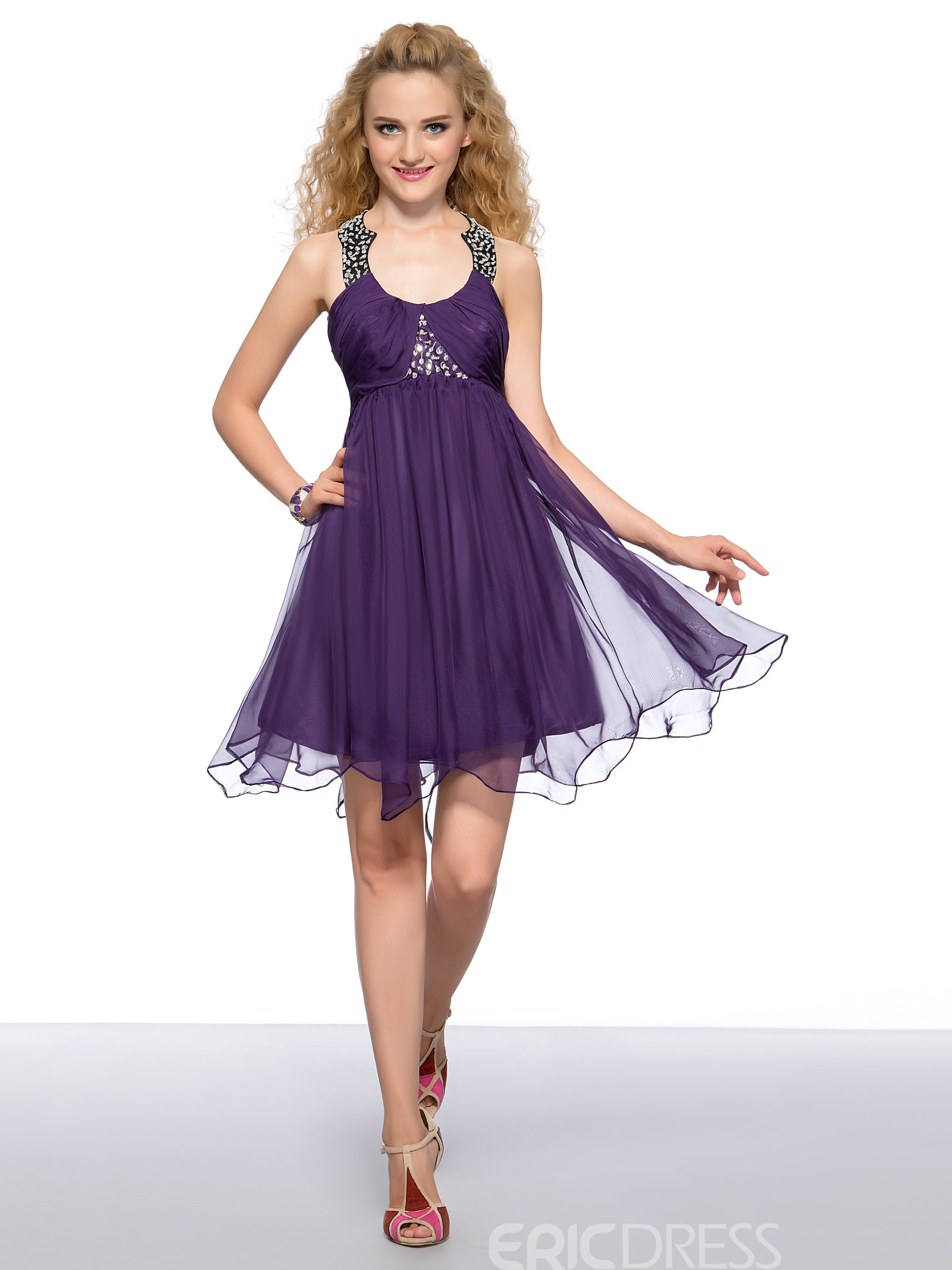 Charming Empire Waist Beading Ruched Short Homecoming Dress