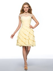 Image of Admirable Beaded Boat Neck Tiered Ruched Chiffon Homecoming Dress