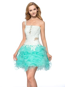 Sexy Backless One-Shoulder Appliques Beading Short Homecoming Dress
