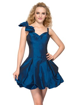 Sweet bretelles robe de Homecoming court Bowknot
