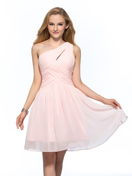Robe de Homecoming court a-ligne une épaule Simple concise