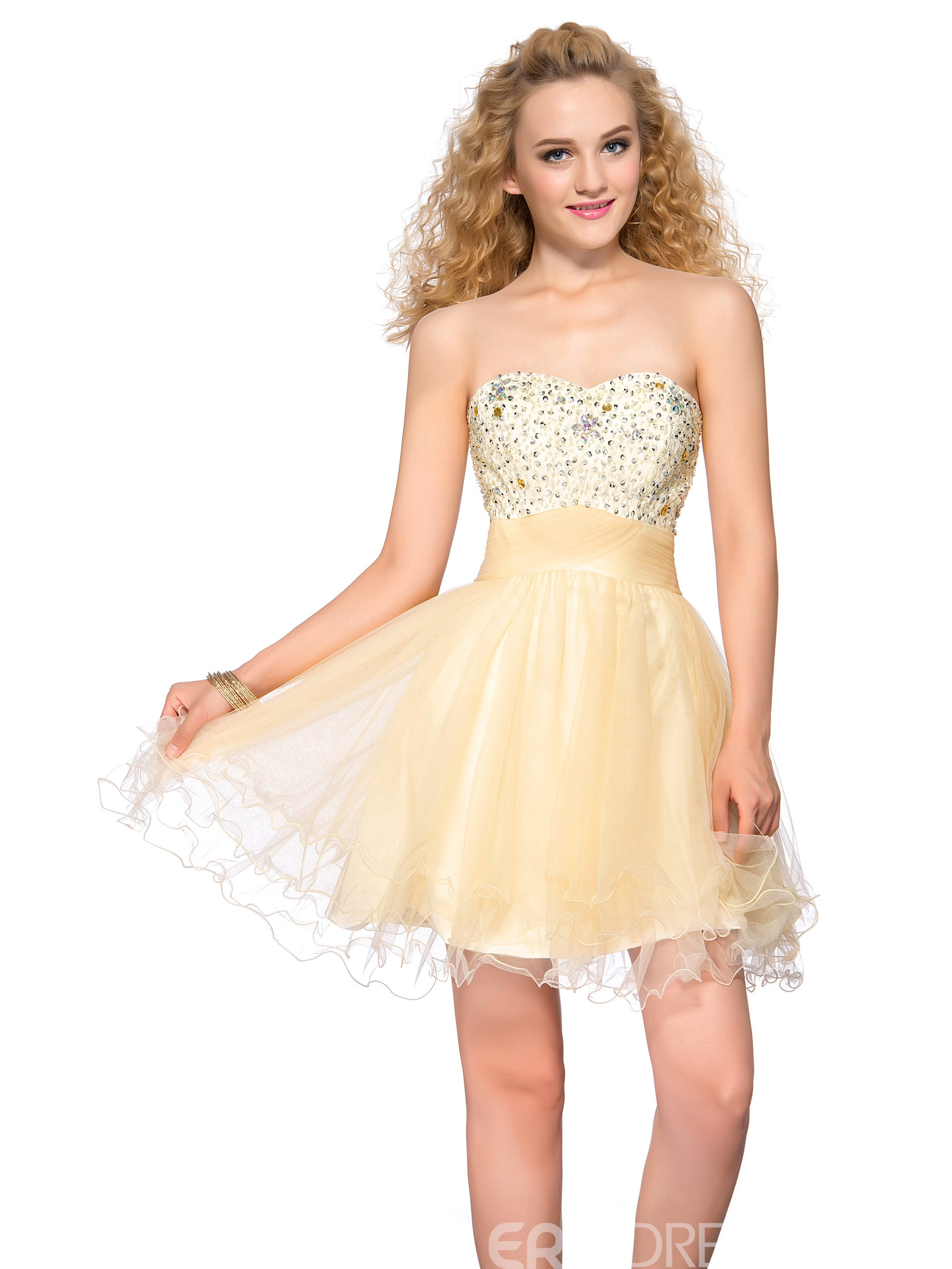 Smart Sweetheart Beading Sequins Lace-up Short Homecoming Dress