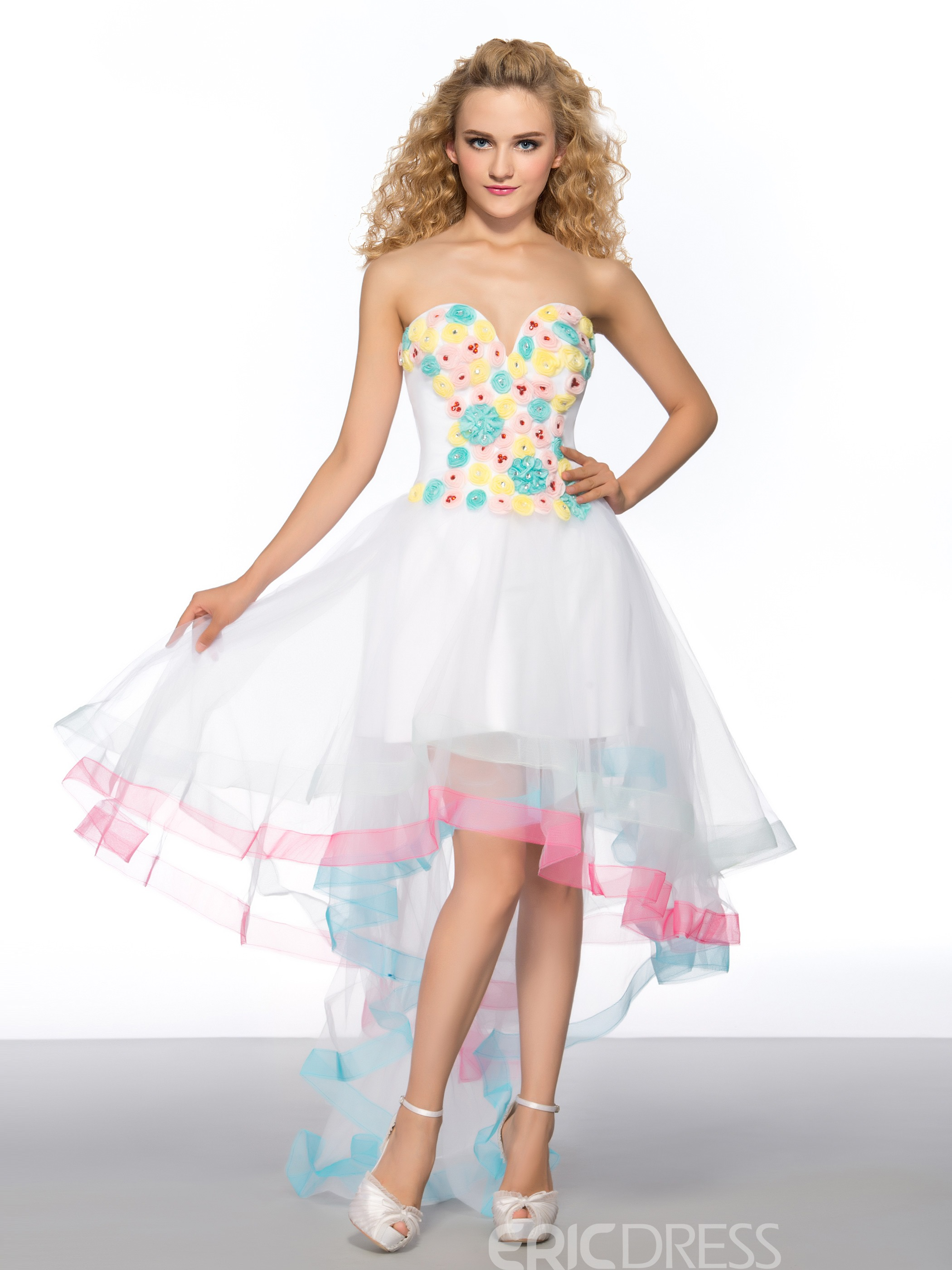Pretty Asymmetry Sweetheart Flowers Homecoming Dress