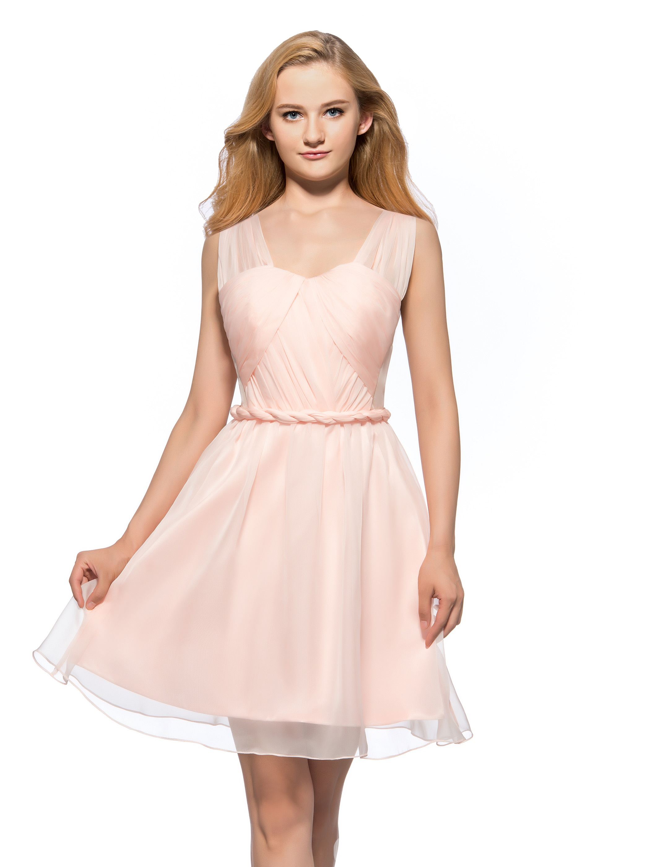 Pure Straps Pleats Sashes A-Line Short Homecoming Dress