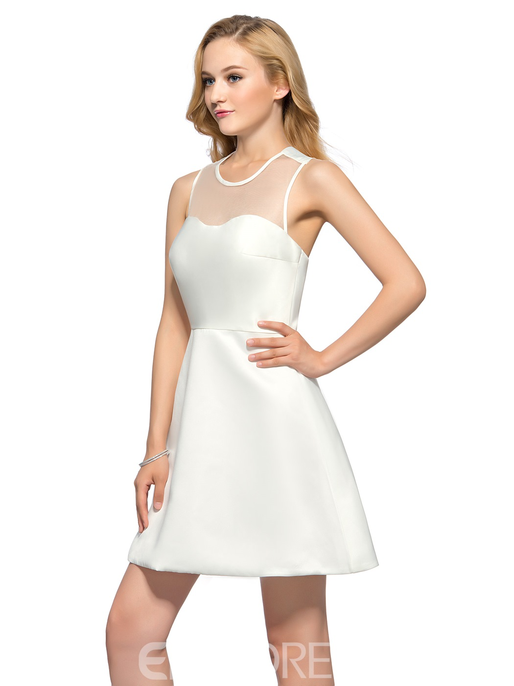 Sweet A-Line Jewel Shoet Homecoming Dress