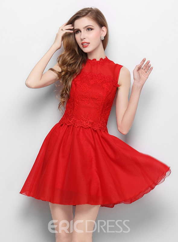 Ericdress A-Line Jewel Neck Lace Homecoming Dress