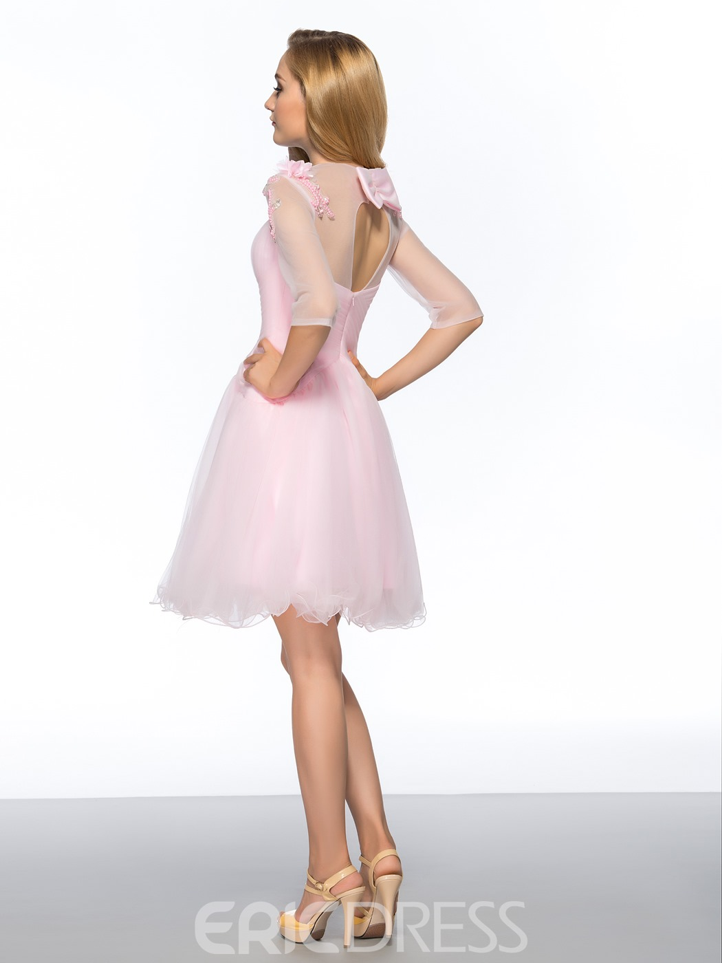 Pretty A-Line Straps Bowknot Short Homecoming Dress