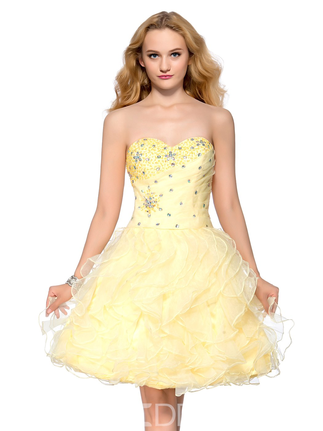 Ericdress Sweetheart Beading Tiered Lace-up Short Homecoming Dress