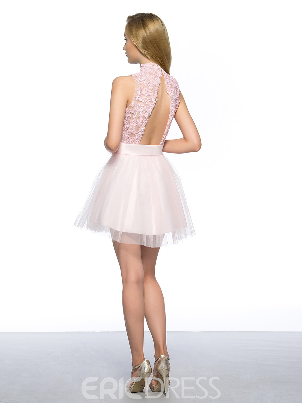 A-Line High Neck Appliques Homecoming Dress