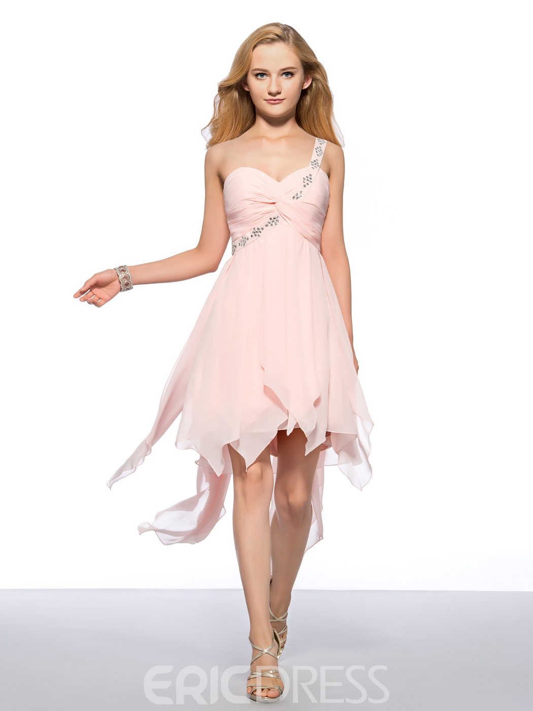 Elegant Beaded One Shoulder Strap Sweetheart Short Homecoming Dress