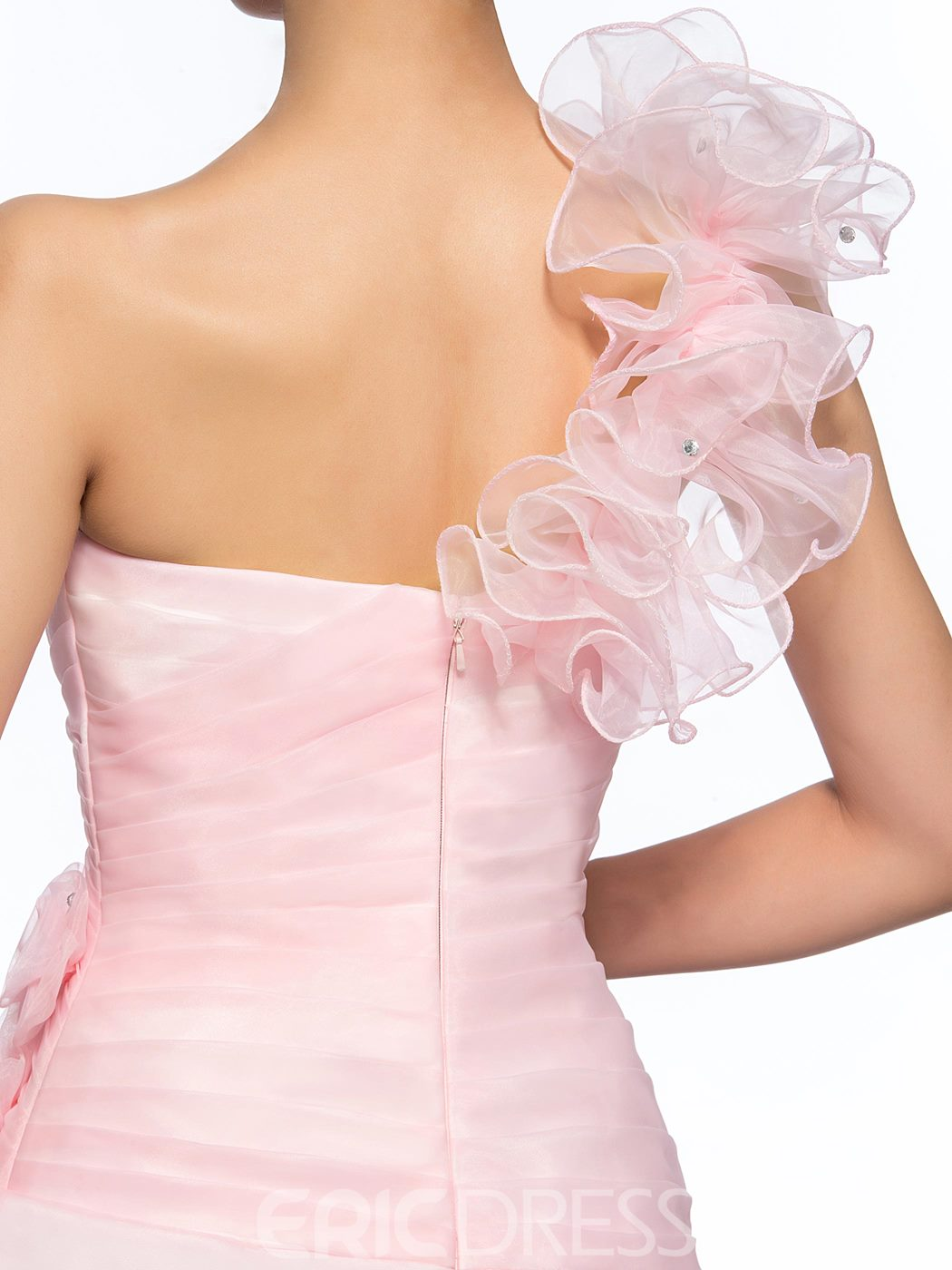 Pretty A-Line One Shoulder Flowers Homecoming Dress