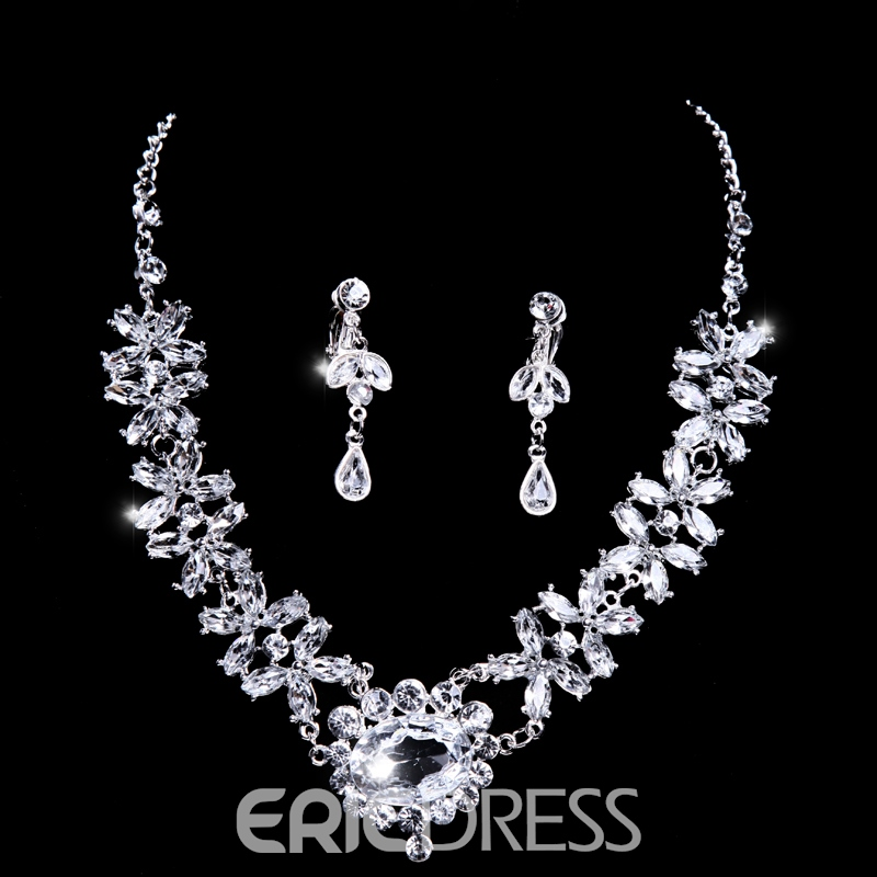 Shinning Rhinestone Wedding Jewelry Set(Include Necklace and Earring )