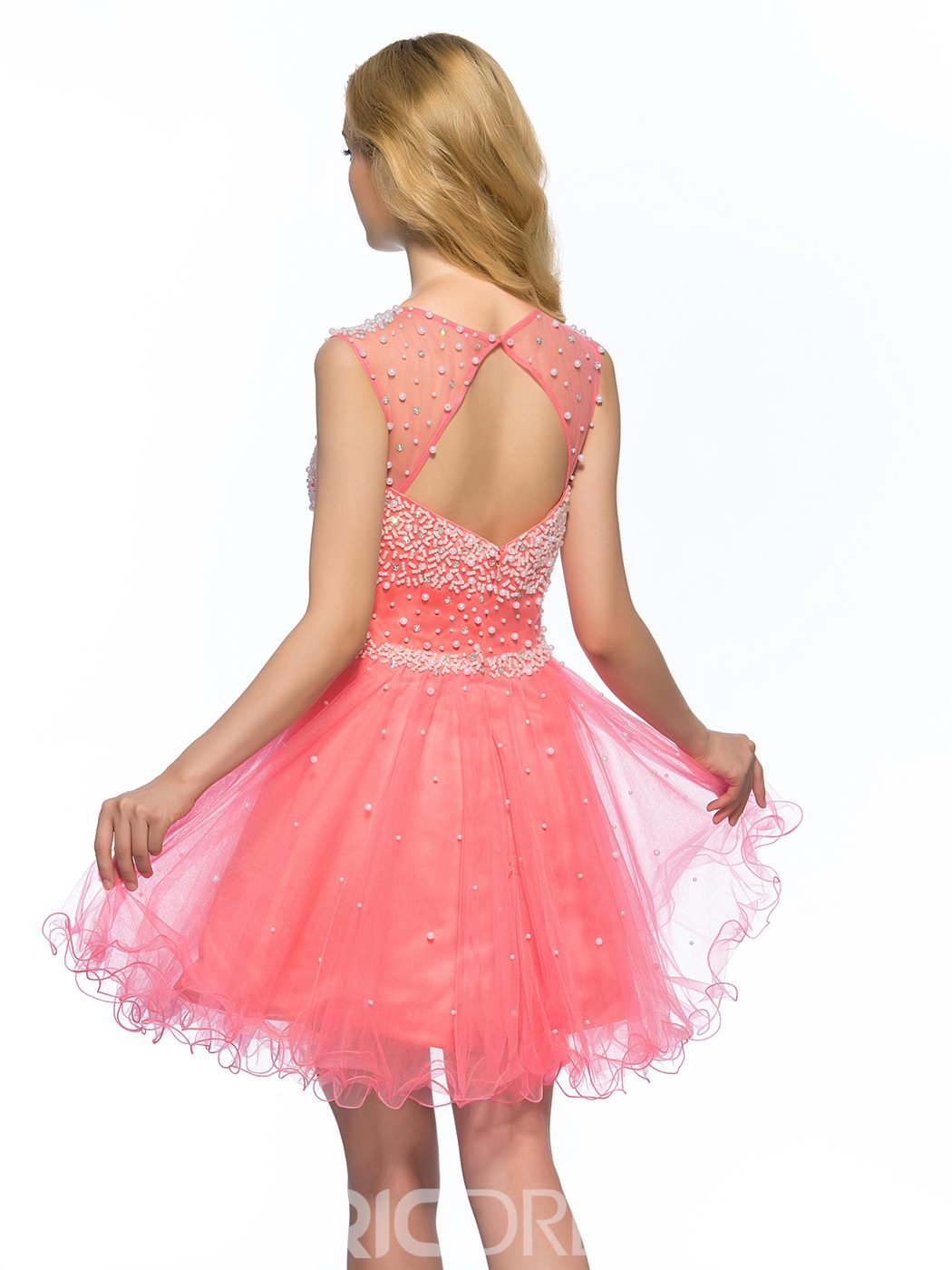 A-Line Pearls Jewel Homecoming Dress
