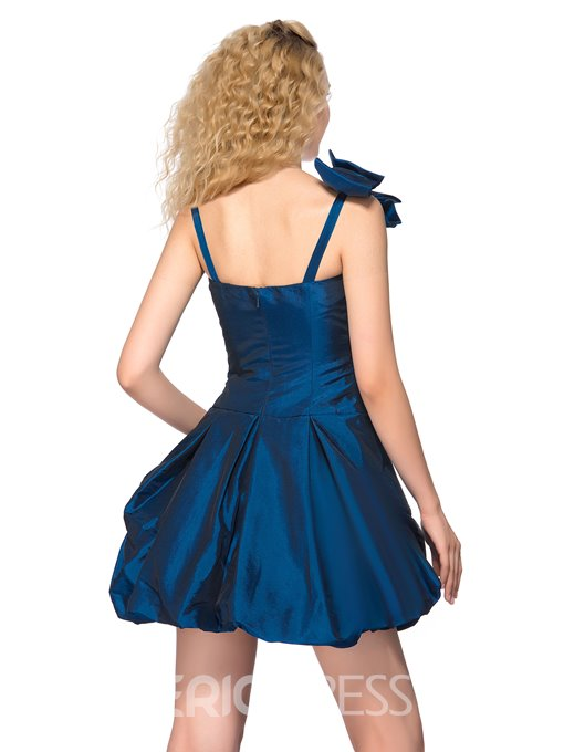 Sweet Straps Bowknot Short Homecoming Dress
