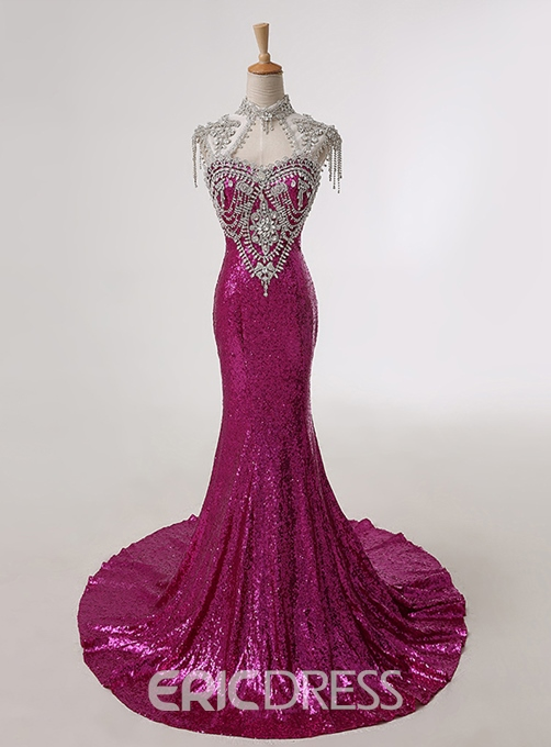 Gorgerous Mermaid Court Train Sequins Open Back Evening Dress