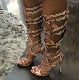Ericdress Snake Print Knee High Stiletto Sandals