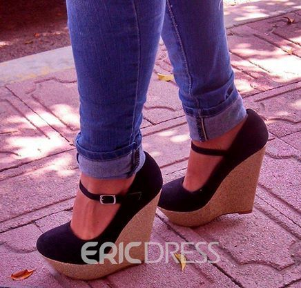 ca09cfcf164 Ericdress Black Ankle Strap Wedges