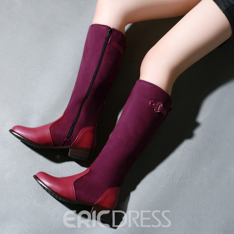 Multi Color Patchwork Buckle Chunky High Boots