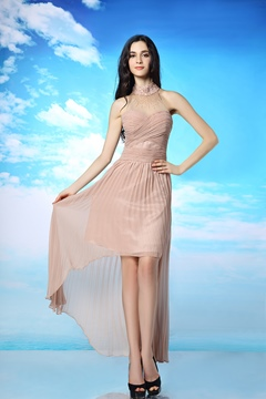 Graceful A-line Asymmetrical High Neck Beadings Ruched Evening Dress