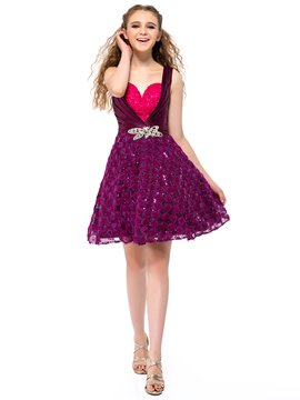 Elegant Straps Sweetheart Sequins Crystal A-Line Short Homecoming Dress
