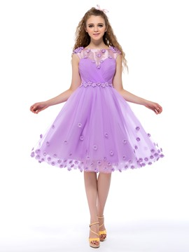 A-Line Flowers Knee Length Homecoming Dress
