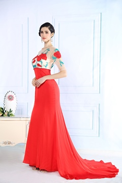 Round Neck Beadings Embroidery Evening Dress