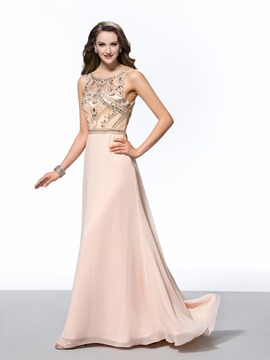 Gorgeous A-Line Scoop Beading Sweep Evening Dress