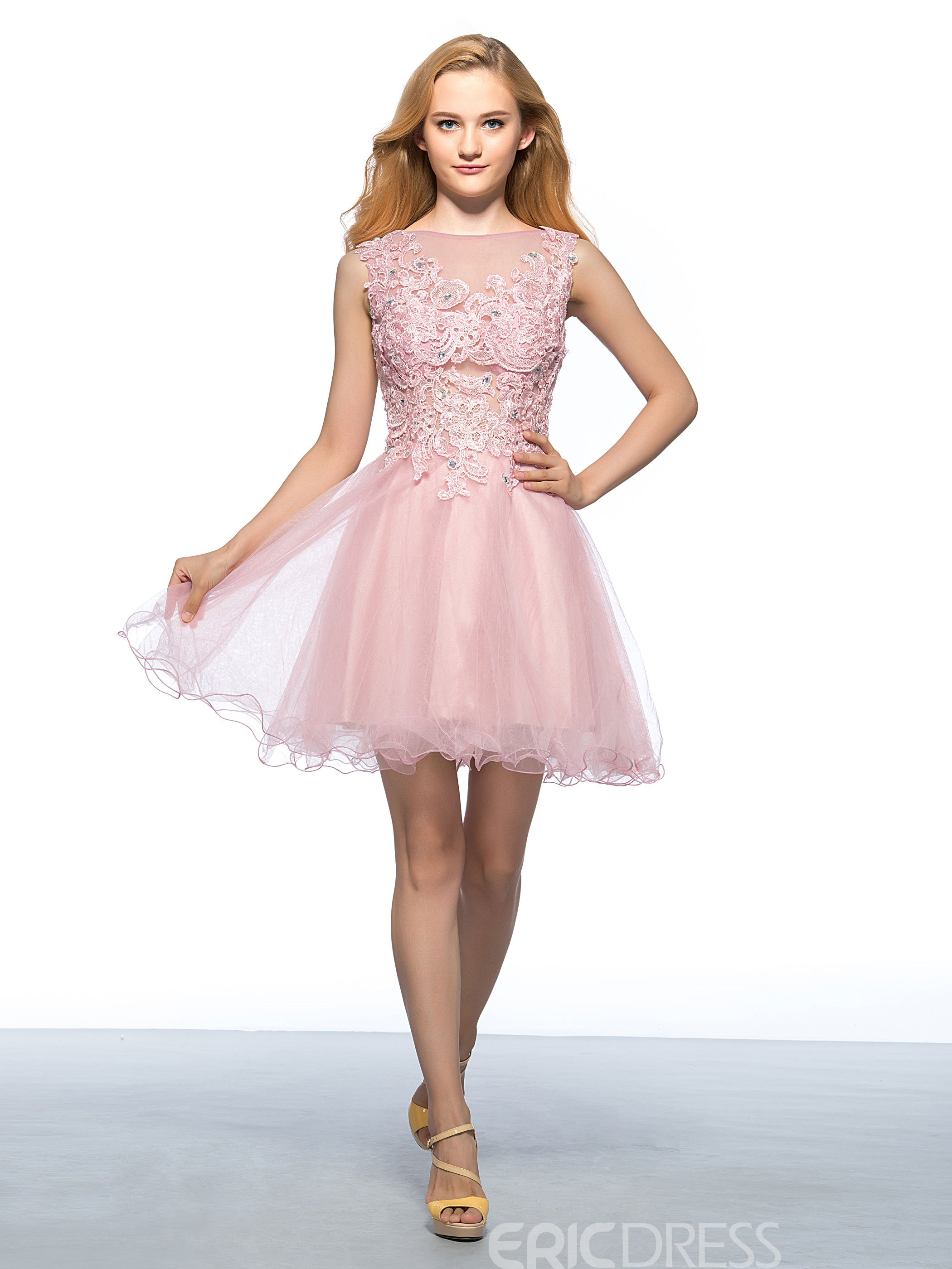 Gorgeous Bateau Neck Appliques Short Homecoming Dress