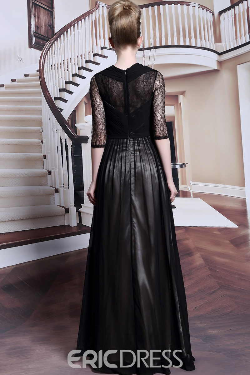 Attractive Square Neck Lace Half Sleeves Black Long Evening Dress
