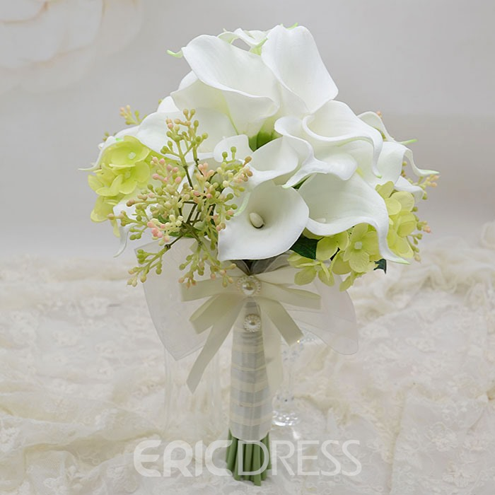 Exquisite White PU Feel Calla Lily Flower Wedding Bouquet