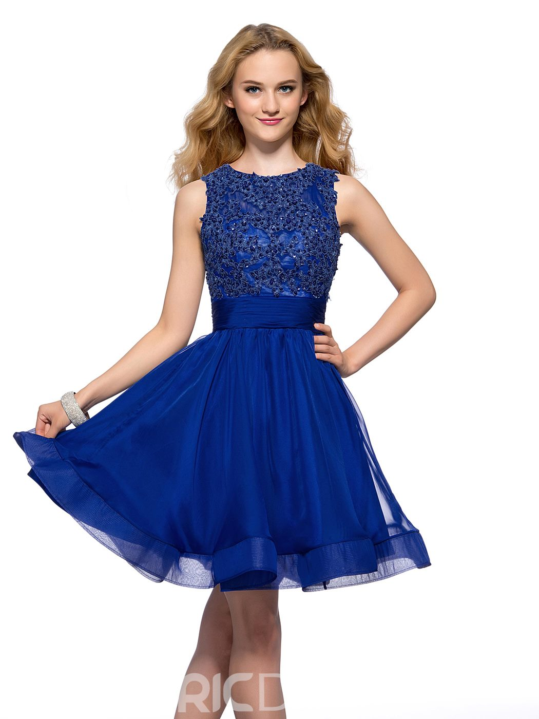 Elegant A-line Bateau Neck Beadings Backless Short Homecoming Dress