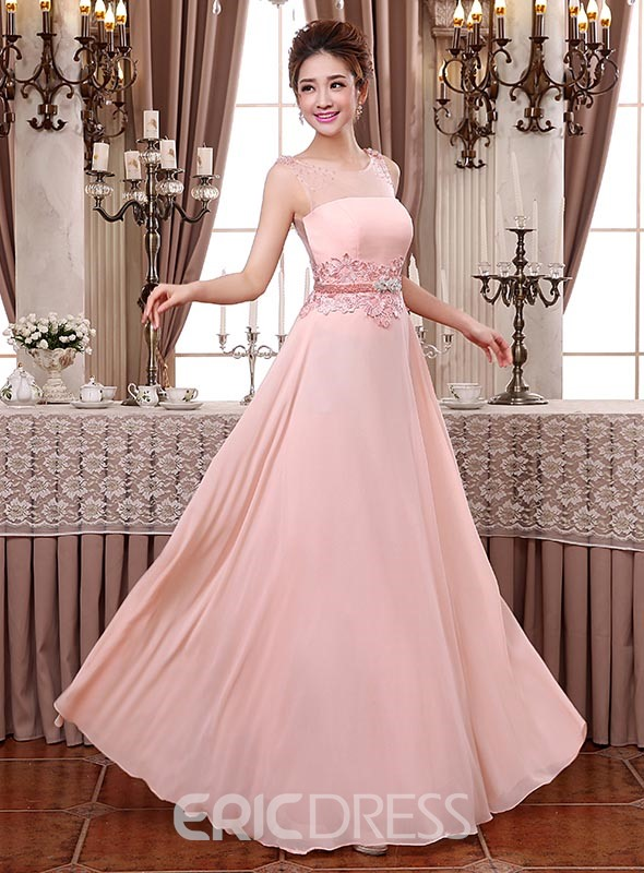 Pretty Scoop A-Line Beading Lace Bridesmaid Dress