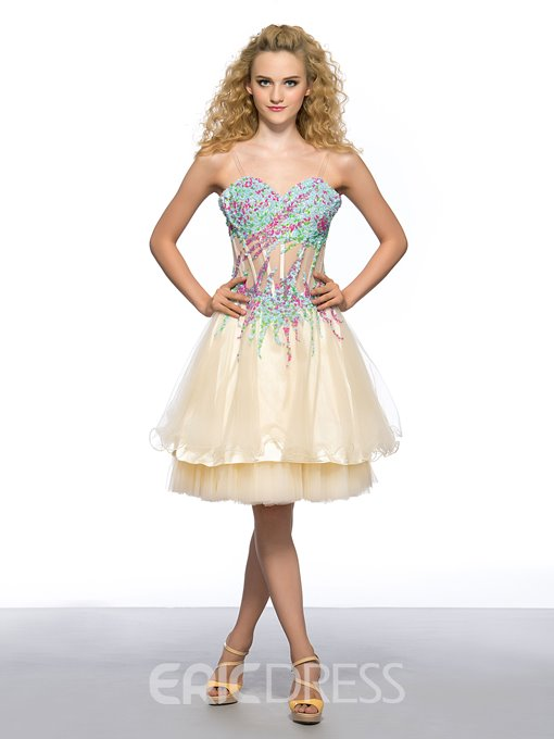 Ericdress Sweetheart Colorful Short Homecoming Dress With Beadings