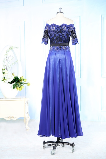 Gorgeous Off-the-shoulder A-line Beadings Evening Dress
