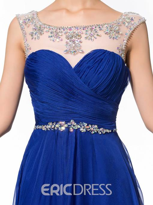 Ericdress Straps Pleats Beading Prom Dress