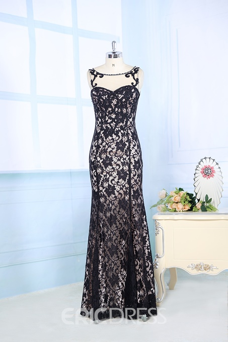 Elegant Mermaid Scoop Neck Beadings Embroider Floor-length Evening Dress