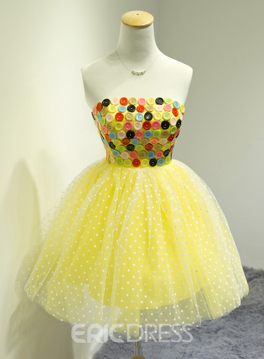 Vogue A-line Colorful Buttons Homecoming/Sweet 16 Dress
